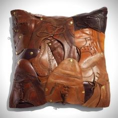 Recycled Mens Shoes Pillow