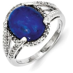 Sterling Silver Lapis and Diamond Ring ($98) ❤ liked on Polyvore featuring jewelry, rings, sterling silver, diamond jewellery, polish jewelry, cabochon ring, fancy rings and cabochon jewelry