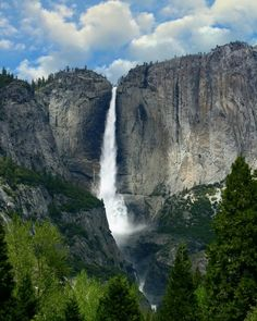 Yosemite Falls is the highest waterfall in North America. It drops 2,425 ft (739 m) in the Sierra Nevada, California. The source of water is melting snow, therefore sometimes the stream may cease due to a little amount of snow.