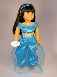 AG Handmade Clothes Jasmine Princess Blue Top & by Loisdesigns American Doll Clothes, Girl Doll Clothes, Girl Dolls, American Dolls, Baby Dolls, Princess Party, Princess Jasmine, Disney Jasmine, Doll Costume