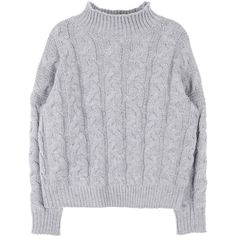 Cable Knit High Neck Sweater (€34) ❤ liked on Polyvore featuring tops, sweaters, high neck sweater, long sleeve tops, loose tops, loose sweater and loose fitting tops