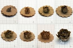 Brown Paper flower .. using scalloped circle paper punch  tutorial