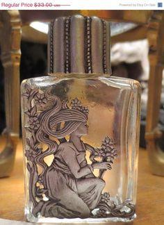 ON SALE Vintage Pewter Glass Perfume Oil Bottle Goddess Flowers