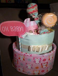 Minty Uil Luiertaart meisje | Made By The Diaper Cake Factory