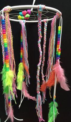 Rainbow Unicorn Fantasies Hearts & Neons Boho by KawaiiNomNoms #rainbows #mobiledreamcatcher #dreamcatcher #neon #rainbowneon #neonrainbow #mobile #hearts #kawaii #kawaiinomnoms