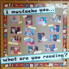 "Library display: reading bulletin board, teacher picks, ""I mustache you. what you are reading? School Library Displays, Middle School Libraries, Elementary Library, Classroom Displays, Class Library, Reading Bulletin Boards, Bulletin Board Display, Classroom Bulletin Boards, Classroom Door"