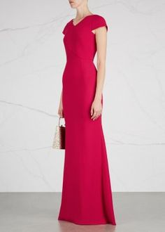 Lewesden raspberry wool crepe gown