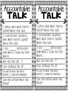 Make the most of your student collaborative discussions by using these Accountable Talk stems to get students communicating effectively. Sentence Stems, Sentence Starters, Instructional Coaching, Instructional Strategies, Classroom Organization, Classroom Management, Accountable Talk Stems, Turn And Talk, Daily 5 Math