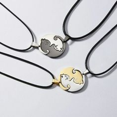 The purrfect necklace for a cat lover. Wear it with your partner, bestie or wear both yin & yang kitty by yourself! Charm Jewelry, Jewelry Gifts, Jewelry Accessories, Jewelry Necklaces, Jewellery, Cat Necklace, Necklace Types, Pendant Necklace, Necklace Charm