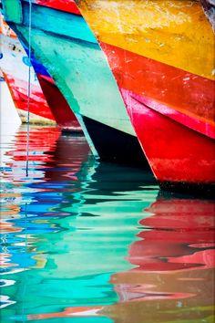 Sea and boats colors poster impresiones por Chachaprints en Etsy
