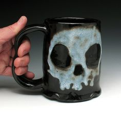 Large Ceramic Mug Skull Tankard Ghost by NicolePangasCeramics, $36.00