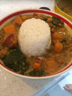 Kumara coconut milk Curry on rice #vegan #lentils