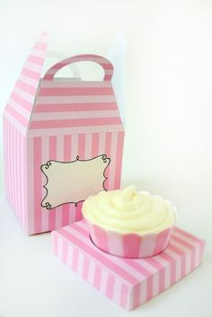 Posh Pink Stripe Printable Cupcake Holder Box by ThePoshEvent