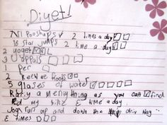 7-Year old 'Diyet' list shows body image issues start young.