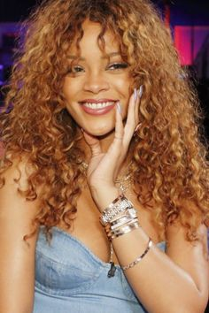 "Image result for ""rihanna curly"" hair with bangs"
