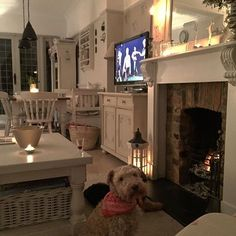 I have control of the remote tonight 😊 but a bit of competition to get close to the fire 🙄 it's getting colder stay cosy lovelies X Cottage Interiors, Cottage Homes, Cottage Style, Snug Room, Cosy Room, Country Interior, Front Rooms, Living Room With Fireplace, Ideal Home