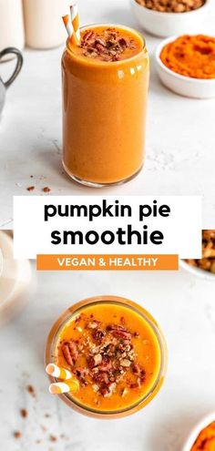 This pumpkin pie smoothie recipe is healthy, vegan, dairy-free, and perfect for the fall season! It's packed with classic fall flavors like cinnamon, maple, pecan, nutmeg, and ginger. This beverage is a great way to use leftover pumpkin puree from all of your fall baking activities. Enjoy this pumpkin smoothie for breakfast or dessert. It tastes like a drinkable pumpkin pie! #pumpkin #pumpkinspice #pumpkindesserts #pumpkinrecipe #fallrecipes #smoothie #smoothierecipe #breakfastrecipe Healthy Pumpkin Pies, Vegan Pumpkin, Pumpkin Recipes, Fall Recipes, Whole Food Recipes, Vegan Smoothie Recipes, Vegan Breakfast Recipes, Healthy Smoothies, Vegetarian Recipes