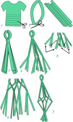 Makramee-knoten Crafts and DIY: How to make a hanging pot for home or garden from an old T-shirt Diy Macrame Wall Hanging, Eco Deco, Wie Macht Man, Hanging Pots, Diy Hanging Planter, Macrame Projects, Old T Shirts, Macrame Knots, Macrame Patterns