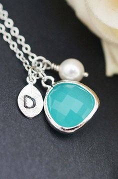 Personalized Initial necklace - glass pendant