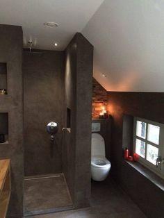Prachtige beton cire inloopdouche uitgevoerd in mortex Beautiful concrete cire walk-in shower executed in mortex 20 Beautiful Bathroom Sinwalk-in shower with Bathroom Lighting Idea