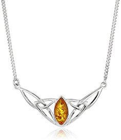 """Sterling Silver Celtic Love Knots Amber Necklace, 18"""" Amazon Collection-$44.99 http://www.amazon.com"""