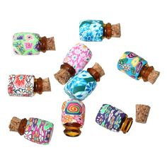 Souarts Mixed Color Mini Glass Bottles Cork Tops Message Weddings Wish Jewelry Party Favors Pack of 10 -- You can find more details by visiting the image link.