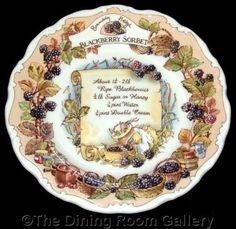 FOR SALE Royal Doulton BRAMBLY HEDGE recipe BLACKBERRY SORBET barklem 8  wall PLATE 1st #followvintage