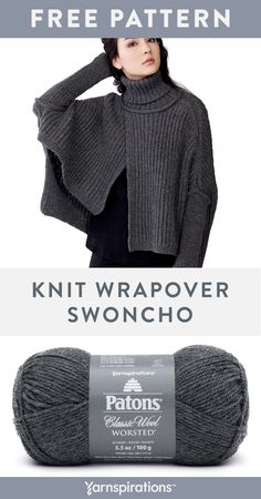 Feb 2020 - Free knit Wrapover Swoncho pattern using Patons Classic Wool Worsted yarn. Make this Part sweater, part poncho creation for the chilly months! Work it up with classic ribbed knit stitches and a stunning asymmetrical hemline. Poncho Knitting Patterns, Knitted Poncho, Easy Knitting, Knitted Shawls, Loom Knitting, Knitting Stitches, Free Knit Poncho Pattern, Outlander Knitting Patterns, Knitting Toys