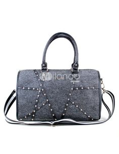 Grey Rivet Felt Cylindrical Shape Womans Tote Bag. See More Tote Bags at http://www.ourgreatshop.com/Tote-Bags-C775.aspx