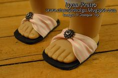 Cute little American Girl shoes made from foam and ribbon- great project for kids and moms!  Stamp-n-Design