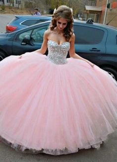 Pink Beaded Quinceanera Dress Ball Gown Graduation Party Dresses pst0182