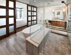 Amei a separação entre quarto e banheiro...