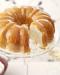 Lemon cake with crackly caramel glaze and lime-yogurt mousse