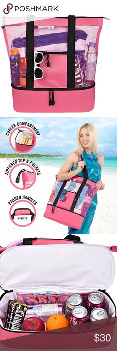 Mesh Beach Tote Bag with Insulated Picnic Cooler COOLER BAG SEGMENT - This mesh beach bag features an insulated, zippered cooler compartment. Beach is all about hot sand, not hot drinks! TOP ZIPPER - This mesh beach tote is made of heavy duty canvas with a sturdy top zipper that keeps your belongings safe PRACTICAL, COMFORTABLE, SPACIOUS - This mesh beach bag comes in a coral pink color. Long, padded handles ensure the comfort of your palms and shoulders. This beach bag is spacious…