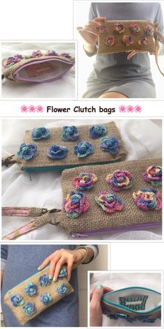 """Flower clutch bags in two colors, """" Cotton candy """" and """" blue blue rose """""""