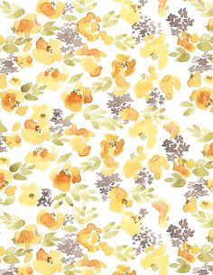 """Chloe"" Yellow Floral Patterned Paper"