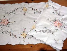 Two Vintage Embroidered Linen Traycloths or Mats by CSTextiles, £12.00