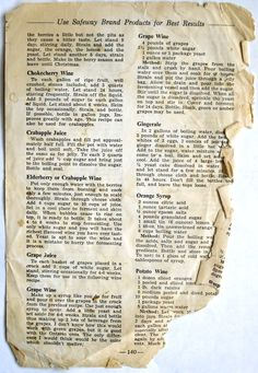 Vintage Wine recipes - I've been hunting for my chokecherry wine recipe. All the recipes I was looking at called for wine yeast, a campden tablet, tannin and/or pectic enzyme. I wanted to make it the old fashioned… Retro Recipes, Old Recipes, Canning Recipes, Vintage Recipes, Cookbook Recipes, Recipies, Fermentation Recipes, Cookbook Ideas, Delicious Recipes