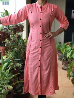 Kurti - Different types of kurtis designs Simple Craft Ideas Salwar Neck Designs, Churidar Designs, Kurta Neck Design, Kurta Designs Women, Dress Neck Designs, Blouse Designs, Kaftan, Kurta Patterns, Dress Patterns