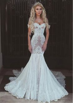Buy discount Chic Tulle & Lace Off-the-shoulder Neckline Mermaid Wedding Dress With Lace Appliques at Dressilyme.com