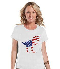 Women's 4th of July Shirt - American Flag Dinosaur Shirt - Patriotic Dinosaur - Ladies White T-shirt - USA Dino 4th of July Flag Shirt