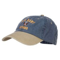 US Navy Retired Military Embroidered Two Tone Cap - Navy Khaki - CU12HV9QU1R b2c5898180a3