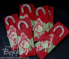 Cute Candy Cane Holder by Stampin' Up! Demonstrator Bekka Prideaux www.feeling-crafty.co.uk