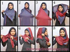 Tutorial Hijab Untuk Wisuda 2 Warna Scarves - Fashion Tips From Solid Color Scarves In wintry weathe Pashmina Hijab Tutorial, Scarf Tutorial, Tutorial Hijab, How To Wear Hijab, How To Wear Scarves, Simple Hijab, Hijab Trends, Street Hijab Fashion, Muslim Hijab
