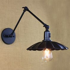 Industrial Vintage Simple&modern Iron Cafe Wall Lamp 2 Swing Arm Clear Glass Shade Restaurant Study Wall Light Free Shipping Lamps & Shades Lights & Lighting
