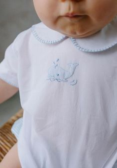 Baby Peterpan Collar Shirt - Whale Whipstitch– Little English Anna Dress, Basic Shorts, Baby Sewing, Seersucker, Collar Shirts, Hand Stitching, Smocking, Whale, Light Blue
