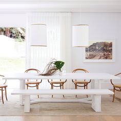 Dining table—House 10. By Three Birds Renovations x Sophie Bell, featuring Dulux White on White.