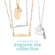 Brand new engrave me collection by Premier Designs! Personalize your story in gold or silver. Over 80 options to choose from. Engraving is free! #premierdesigns #jewelry #personalize #PDengraveme
