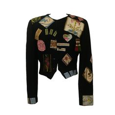 Moschino Couture! 1988 Black Wool Patchwork Embellished Jacket | From a collection of rare vintage jackets at https://www.1stdibs.com/fashion/clothing/jackets/