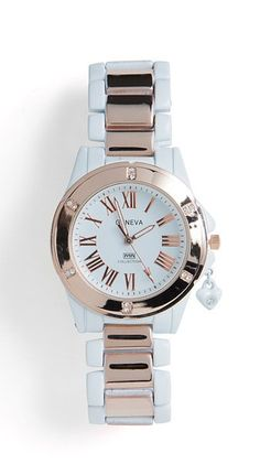 White + rose gold watch